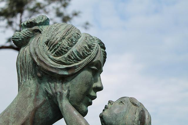 Mother, Child, Sculpture, Fig, Family, Cohesion, Statue