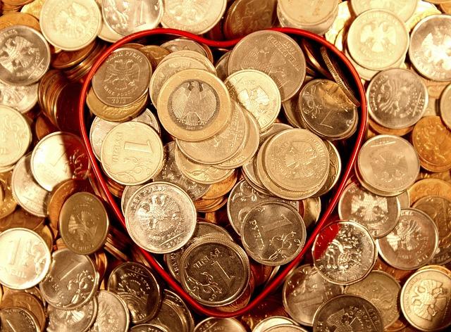 Money, Coins, Heart, Ruble, Euro, Handful, Economy