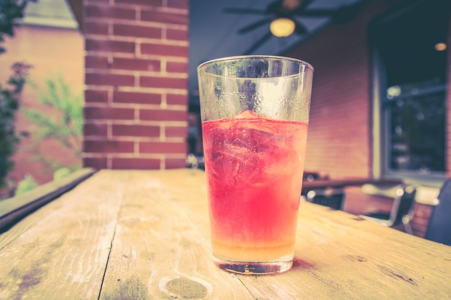 Glass, Cold, Beverage, Table, Wood Table, Pink, Drink