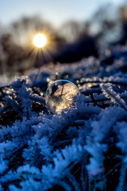 Soap Bubble, Seifenblase Frozen, Ice, Cold, Hoarfrost