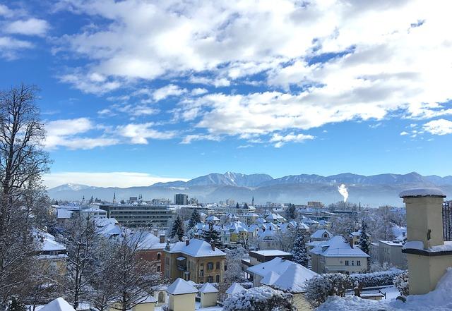 Klagenfurt, City, Winter, Homes, Wintry, Snowy, Cold