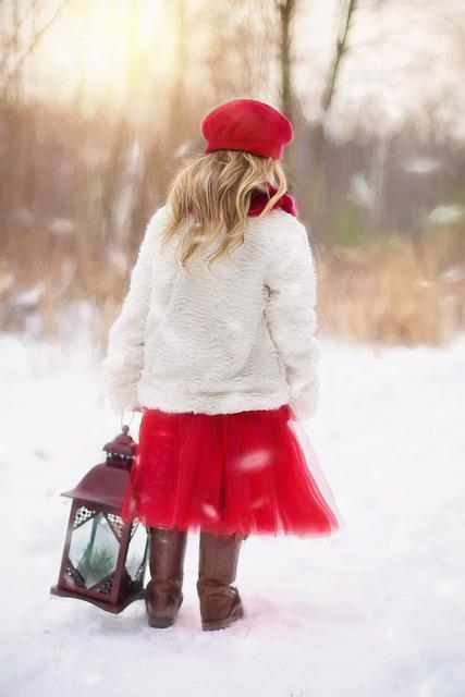 Little Girl, Winter, Snow, Red, Lantern, Cold