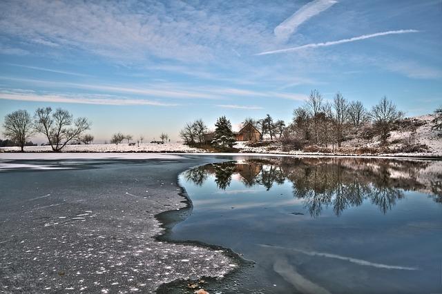 Season, Winter, Landscape, Lake, Cold, Mirroring