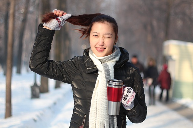 Girl, Plait, Person, Hair, Cold, Coffee, Smile, Winter