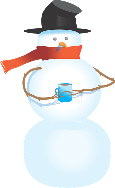 Cold, Winter, Snowman, Scarf, Top Hat, Hot Chocolate