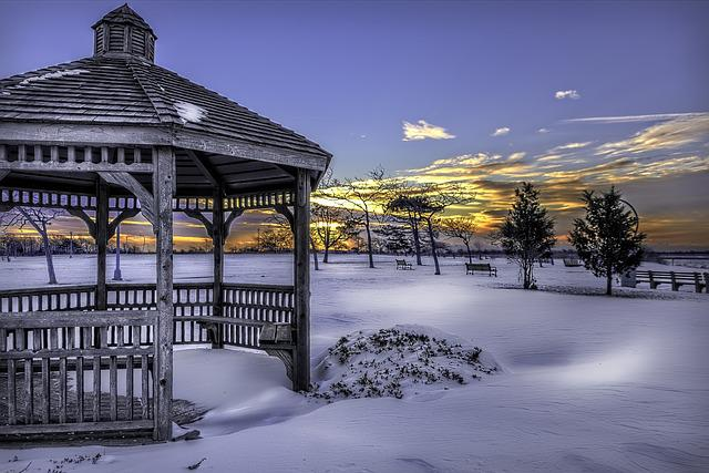 Snow, Gazebo, Winter, Cold, White, Landscape, Park