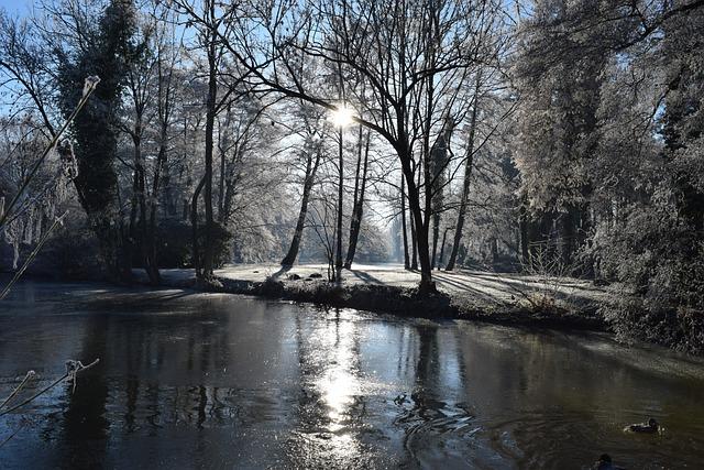 Delmenhorst, Castle Island, Graft, Cold, Winter, Sun