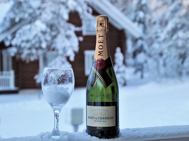 Champagne, Wine, Sparkling, Cold, Winter, Frost, Glass