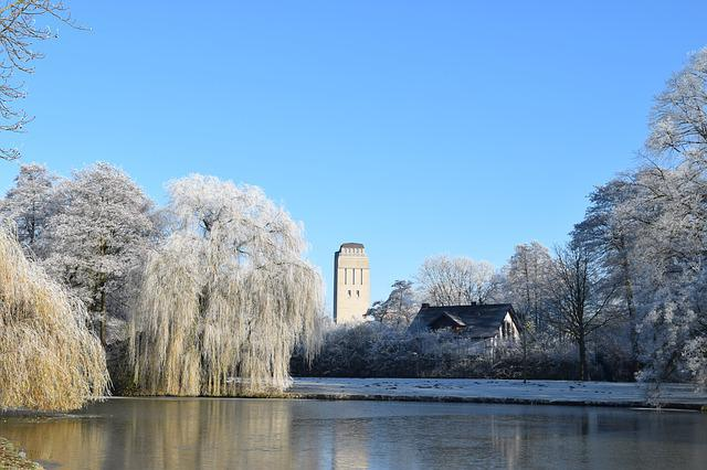 Delmenhorst, Graft, Water Tower, Winter, Frost, Cold