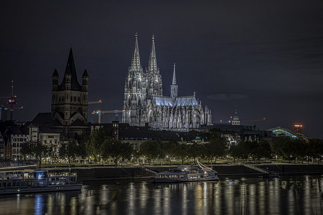 Cologne Cathedral, Night Time, Rhine River, Cathedral
