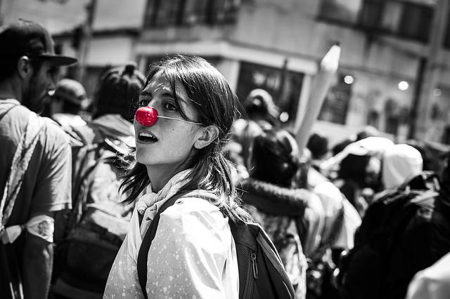 Red Nose, Color Splatter, Joy, Women, March, Colombia