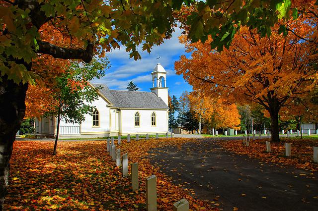 Canada, Autumn, Church, Season, Scenic, Color, Foliage