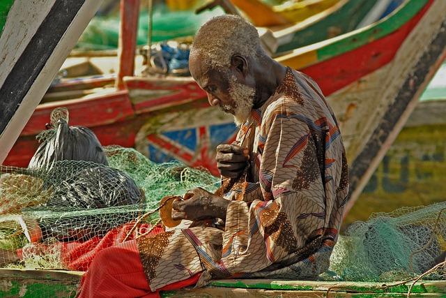 Ghana, Fischer, Fishing Net, Color, Fishing, Rest, Food
