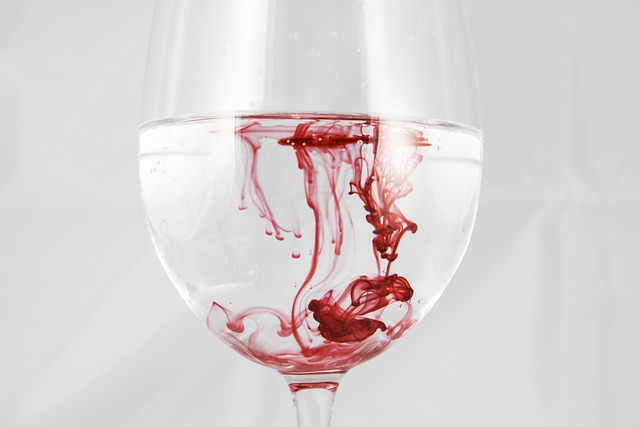 A Glass Of, Water, Color, Ink, Blood, Red, Dissolved