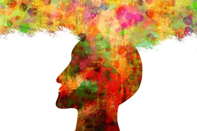 Man, Head, Silhouette, Color, Dirt, Watercolor, Points