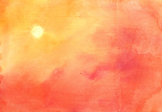 Watercolor, Ink, Color, Orange, Yellow, Sunset