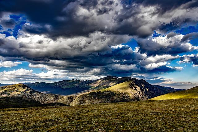 Rocky Mountains, Colorado, Sky, Clouds, Dark, Meadow