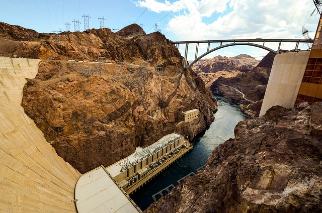 Nevada, Colorado, Hoover Dam, Lake, Dam, Building, Usa