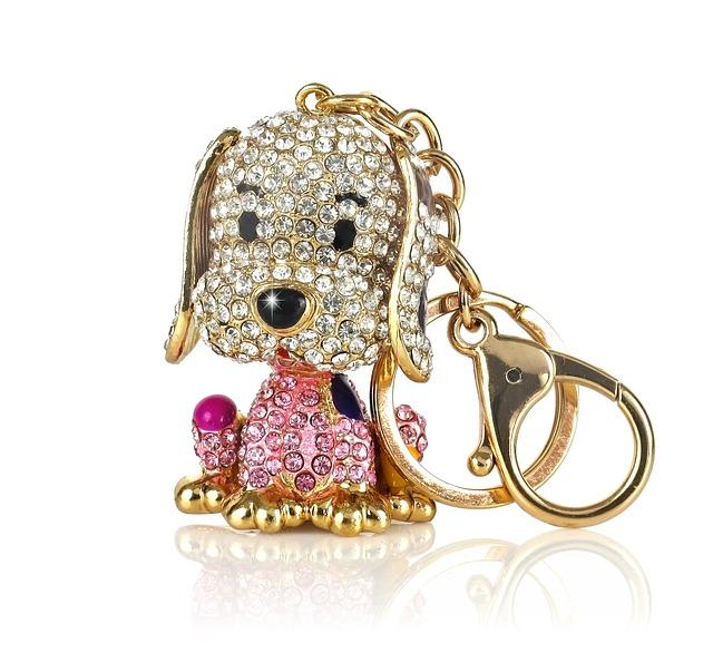 Key Ring, Keychain, Key Ring Pendant, Doggy, Colored