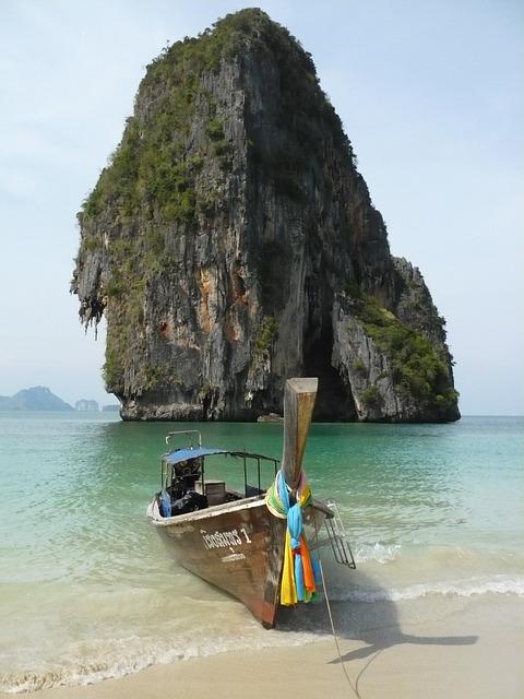 Beach, Cliff, Boat, Colored Ribbons, Scenic, Krabi