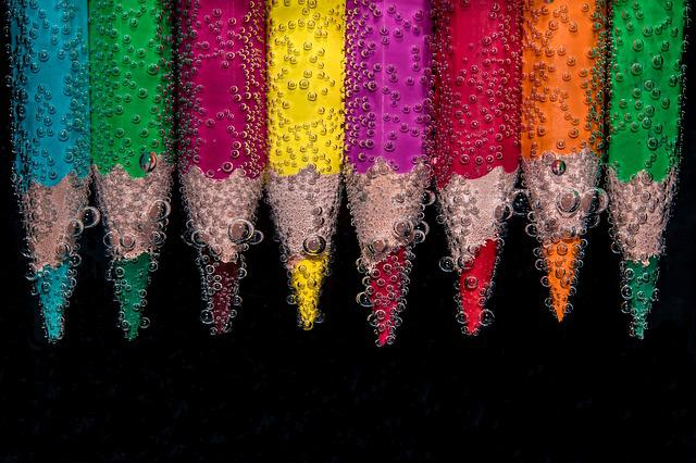 Colorful, Pencils, Submerged, Underwater, Air Bubbles