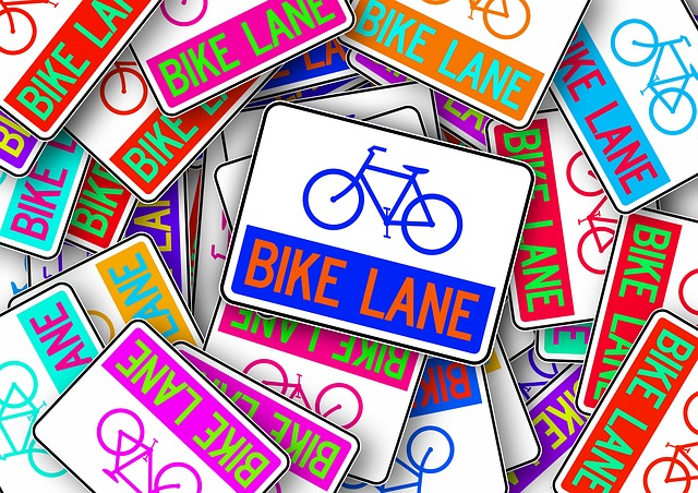 Bike, Bicycle Path, Shield, Note, Colorful, Color