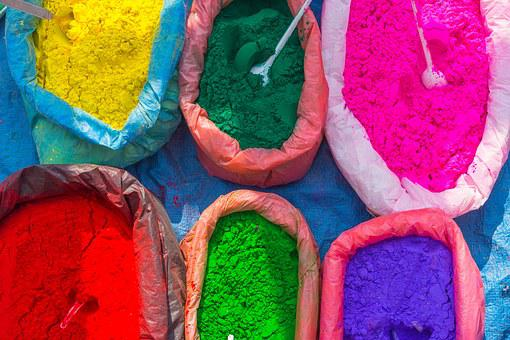 Street Market, Colorful, Colors, Powder, Nepal