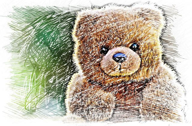 Bear, Teddy, Drawing, Colorful, Soft Toy