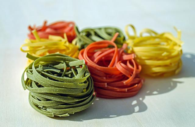 Noodles, Tagliatelle, Raw, Colorful, Food
