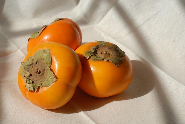Persimmons, Fruit, Fresh, Colorful
