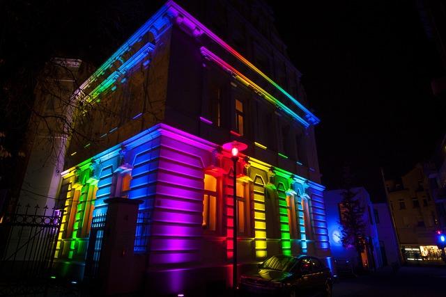Building, Led, Illuminated, Night, Colorful