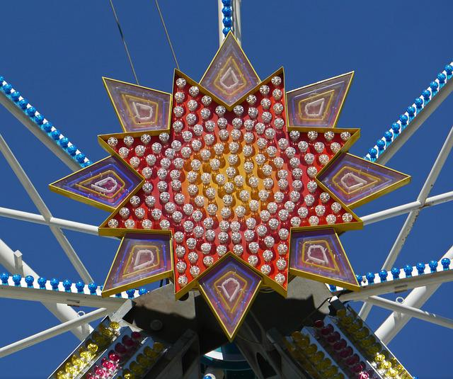 Ferris Wheel, Central Axis, Star, Hub, Lights, Colorful