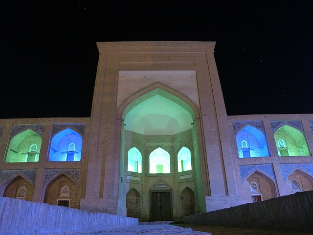 Khiva, Night, Medrese, Lighting, Colorful, Mood