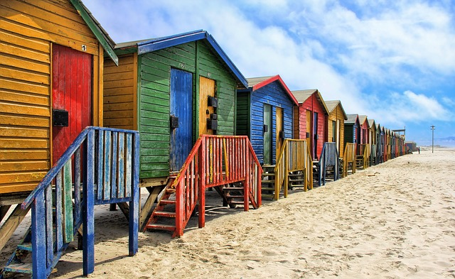 South Africa, Muizenberg, Colorful, Cottage, Sand Beach