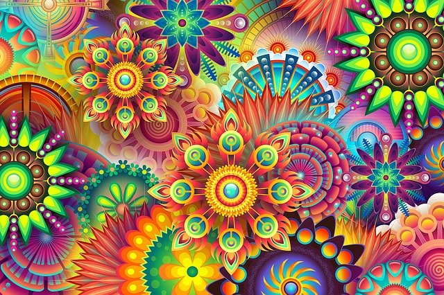Psychedelic, Colorful, Colors, Multi-colored, Floral