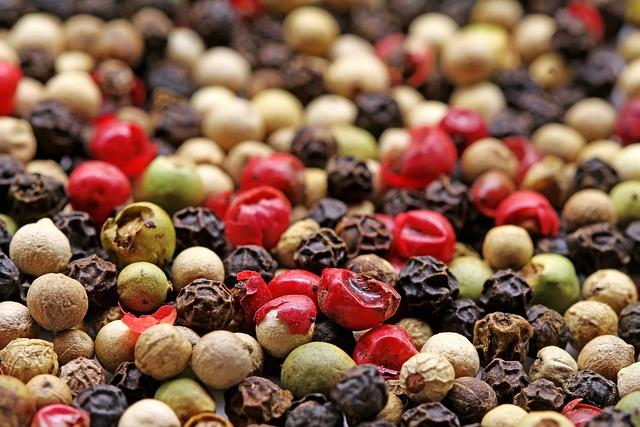 Spices, Pepper, Colorful Pepper, Peppercorns