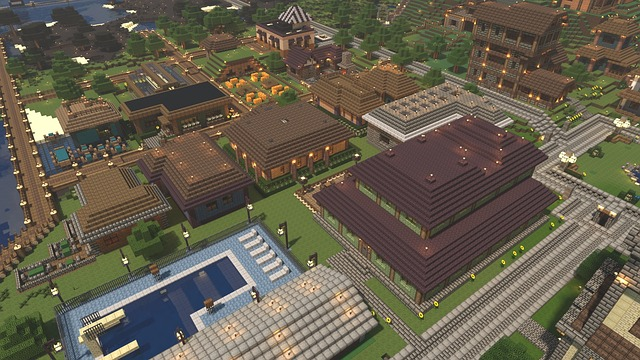 Minecraft, Render, Video Game, Town, Colorful, Medieval