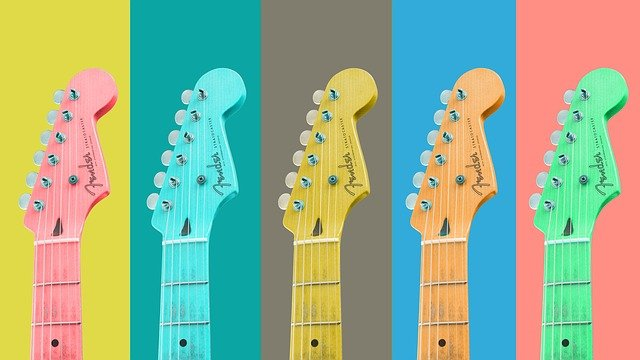 Guitars, Strings, Musical Instruments, Colorful, Music