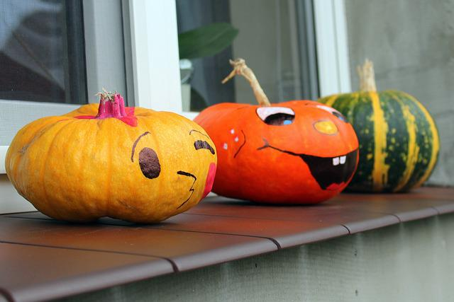Pumpkins, Happy, Vegetables, Colorful, Food, Eating