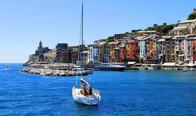 Houses, Colors, Boat, Sea, Porto Venere, Liguria, Italy