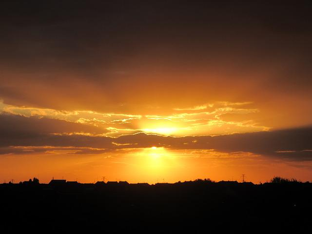 Sunset, Colors, Scenic, Cloud, Sunshine, Natural, Scene