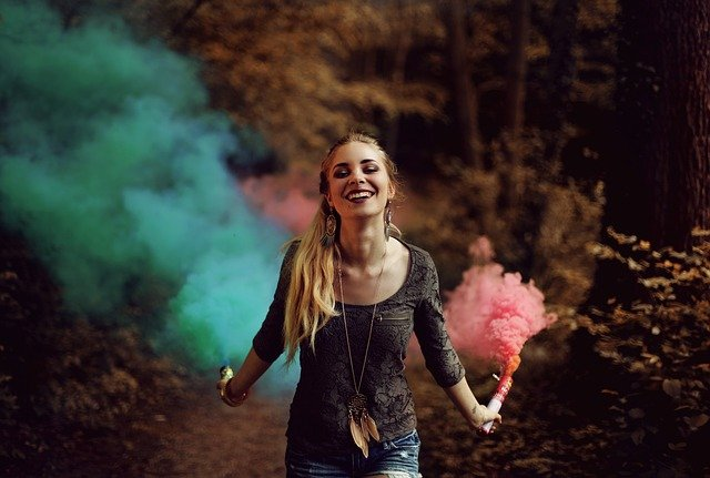 Colorful, Colourful, Happy, Outdoors, Person, Smoke