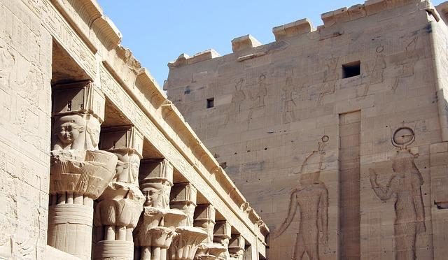 Egypt, Aswan, Philae, Temple, Column, Marquee