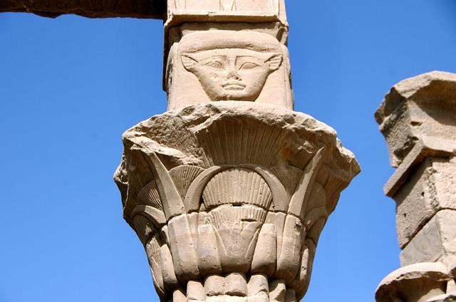 Egypt, Aswan, Philae, Temple, Column, Marquee
