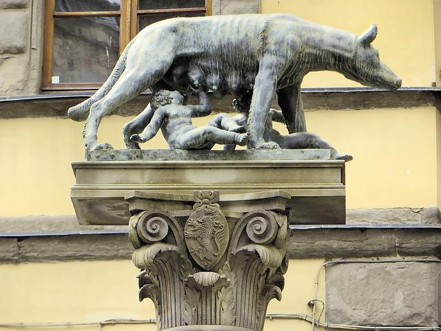 Italy, Hers, Column, She Wolf, Romulus, Remus, Statue