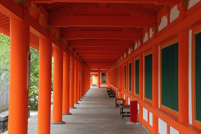 Aisle, Columns, Orange, Architecture, Hall, Building