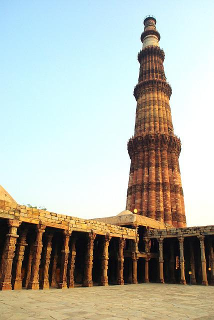 India, Delhi, Mosque, Architecture, Columns