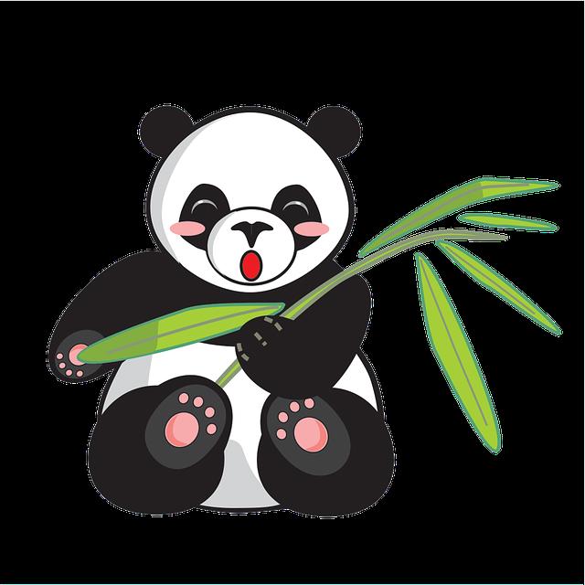 Panda, Cartoon, Cute, Animal, Comics, Bamboo