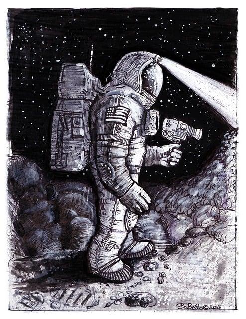 Astronaut, Cosmonaut, Comics, Ink, Acrylics, Sketch
