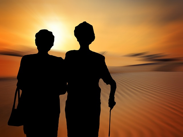 Silhouettes, Women, Old, Seniors, Sun, Community